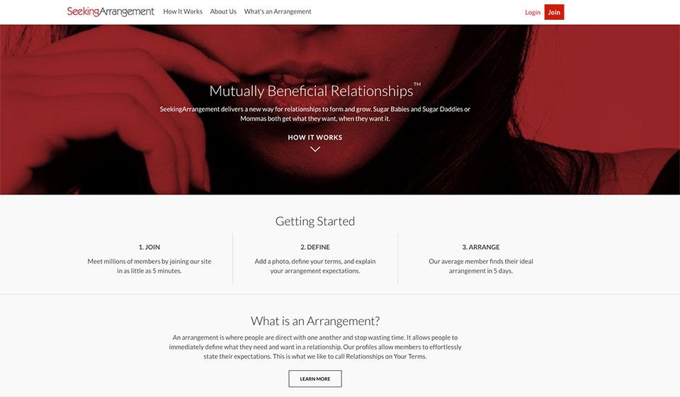 Seeking arrangement website log in